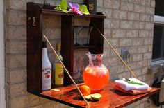 Awesome Outdoor Bar Setup for Friends Gathering. Being confused decorating your porch or backyard? Surely you want outdoor bar setup in the terrace or backyard of the house so it can be a fun gatheri. Backyard Projects, Outdoor Projects, Home Projects, Backyard Ideas, Furniture Projects, Patio Ideas, Porch Ideas, Backyard Bar, Patio Bar
