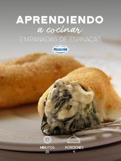 Empanadas de espinacas. Veggie Recipes, Mexican Food Recipes, Appetizer Recipes, Vegetarian Recipes, Healthy Recipes, Ethnic Recipes, Colombian Food, Tasty, Yummy Food