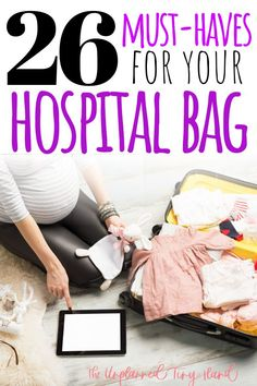 Every mom-to-be (who plans to give birth in a hospital) needs to pack a hospital bag. These 26 items will help you on your way to a smooth hospital stay! Pregnancy Stages, Pregnancy Health, Pregnancy Tips, Pregnancy Announcements, Baby Girl Diaper Bags, Hospital Bag For Mom To Be, Unexpected Pregnancy, Hospital Bag Essentials, Childbirth Education