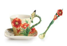 Van Gogh Poppy Flower Porcelain Cup Saucer and Spoon Set from the Franz Collection