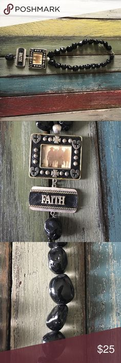 Beautiful western black necklace Beautiful black and silver western faith necklace . The picture can be changed out. You could put a picture of your children if you wanted too Jewelry Necklaces
