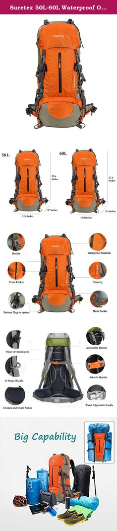 Suretex 50L-60L Waterproof Outdoor Sport Hiking Trekking Camping Travel Backpack Pack Mountaineering Climbing Knapsack with Rain Cover (Orange, 60L). Capacity 1、There are 1 front pocket 2 mesh pocket 1top pouch 2 hip pouch and 1 rain cover. 2、Hip pouch with a mobile phone and small items. Product feature Brand: Suretex; Gender:Unisex; Frame:detachable suspension carry system ; Waterproof cover: rain cover ; Product Parameters Capacity: 50 L & 60 L Fabric: High-quality water resistant…