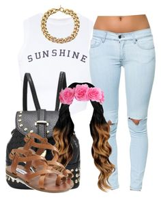 """""""My sister school outfit"""" by trillest-queen ❤ liked on Polyvore featuring Wildfox, Pistola, Steve Madden and Michael Kors"""
