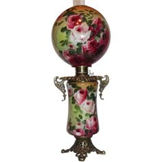 """Wonderful ~ HUGE Gone with the Wind Oil Lamp ~RARE 13"""" SHADE~Masterpiece Breathtaking BEAUTY WITH HAND PAINTED ROSES~ Outstanding Fancy Ornate Handled Font Spill Ring and Base~ Original Condition ~Original Parts ~ Collector Piece ~ Master Artistry"""