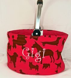 $16.95 pink dog market tote! great for dog toys or road trips for your dog.