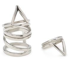 FOREVER 21 Angular Ring Set (20 RON) ❤ liked on Polyvore featuring jewelry, rings, accessories, silver, silver band ring, forever 21 jewelry, top finger rings, polish silver jewelry and band rings