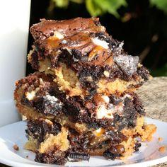 Oreo Chocolate Chip Cookie Caramel Brownies