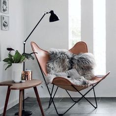 Obsessing over sheepskin rugs + copper! Winter come at us