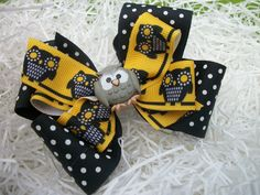 Toddler Hair Bow Black and Yellow Owl Double by preciouscurls,