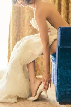 Gorgeous bridal boudoir/wedding boudoir shot with the bride and her gown.
