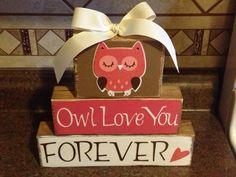 Owl Love Valentine blocks