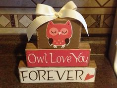 Owl Love Valentine blocks