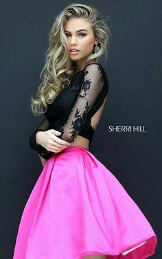 b4dd973f203 Two Piece Beaded Lace Sherri Hill 50533 Open Back Short Prom Dress 2016