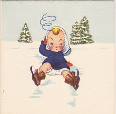 Midge's First Time on Ice 1940s Vintage Card by EphemeraObscura