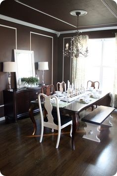 chocolate brown dining room...