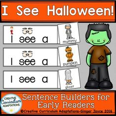 SIGHT WORD SENTENCES: Picture supported text and motivating picture vocabulary cards are a fun way to engage beginning readers with Halloween vocabulary and sight words. Presentation/Text Options: Materials include both picture supported text and text only sentence frames.