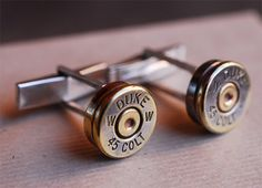 Bullet Cufflinks  If you buy link- or French-cuff shirts, you are obviously going for looks that kill. Why not take it a step further by popping a bullet through your buttonhole. These handmade cufflinks feature the heads of spent brass bullet shells on a traditional silver link. You can even send the artist your own shells from a special hunt or shooting competition and he'll make you a custom set. Bang!
