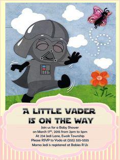 Star Wars Baby Shower Invitation Darth By RayneRhysDesigns On Etsy