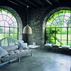 home side house Home Interior Design, Interior Architecture, Interior Decorating, Indoor Courtyard, Arched Windows, Dream Apartment, Stone Houses, Industrial House, Luxury Living