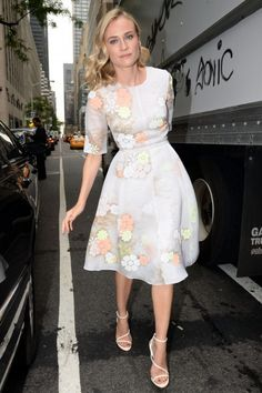 Diane Kruger is a lovely organza summer floral dress by Honor
