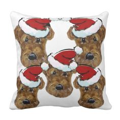 SANTA AIREDALES THROW PILLOW