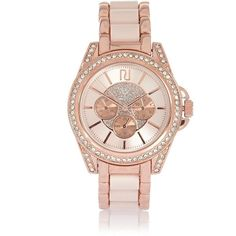 River Island Rose gold chunky embellished watch ($70) ❤ liked on Polyvore featuring jewelry, watches, accessories, gold, women, pink gold jewelry, pink gold watches, chunky jewelry, rose gold watches and chunk jewelry