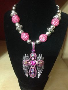 WING Necklace Western Cowgirl Rodeo Chunky Rhinestone Cross Bead Womens Pink New