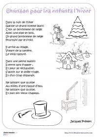 """Chanson pour les enfants l'hiver Les paroles de la poésie (ou chanson) que tout le monde a appris un jour à l'école : """"Chanson pour les enfants l'hiver""""de Jacques Prévert."""