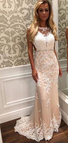 Charming Lace Sheath Beading Prom Dresses,Long Evening Dresses,Sleeveless dress,homecoming dress