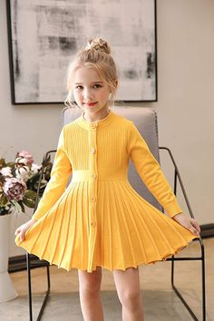 Buy Little Girls Pleated Dress School Uniform Long Sleeve Button Front Knit Sweater Dress - Yellow - and more Girls' Casual Dresses enjoy up to off, fast worldwide shipping. Sweater Dress Outfit, Uniform Dress, Girls Casual Dresses, School Uniform, Yellow Dress, Dress Brands, Little Girls, Kids Fashion, Girl Outfits