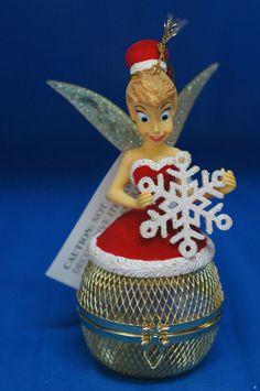 Santa Tinker Bell on Mesh Ball Christmas Ornament Figurine Peter Pan Disney Park #DisneyParks