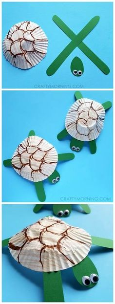 Such cute cupcake liner turtle craft for kids! Could make it for an ocean theme art project. - Alles pin - Such cute cupcake liner turtle craft for kids! Could make it for an ocean theme art project. Preschool Crafts, Kids Crafts, Easy Crafts, Arts And Crafts For Kids Toddlers, Beach Crafts For Kids, Animal Crafts For Kids, Daycare Crafts, Toddler Crafts, Projects For Kids
