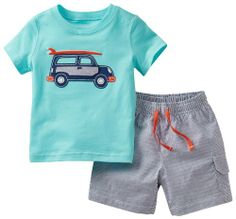 Black Friday Carter's Baby Boys' 2 Piece Shorts Set (Baby) - Light Blue - 12 Months from Carter's Cyber Monday Baby Boy Fashion, Toddler Fashion, Toddler Outfits, Baby Boy Outfits, Kids Fashion, Baby Boy Clothing Sets, Baby Kids Clothes, Girl Clothing, Fashion Clothes