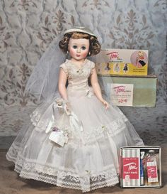 American Character Toni Bride Doll:  This beautiful doll looks very familiar.  I am pretty sure that I owned one of these lovely dolls.
