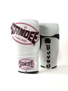 Sandee Cool-Tec Lace Up Pro Fight Leather Boxing Gloves - White Black & Red Boxing Gloves, Muay Thai, Cowhide Leather, Lace Up, Cool Stuff, Red, Black, Black People
