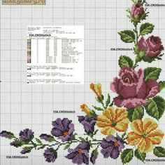 This Pin was discovered by viv Cross Stitch Geometric, Cross Stitch Rose, Cross Stitch Borders, Cross Stitch Flowers, Cross Stitch Designs, Cross Stitching, Cross Stitch Embroidery, Embroidery Patterns, Hand Embroidery