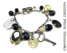Steampunk Jewelry Victorian Charm Bracelet by CompassRoseDesign, $124.00