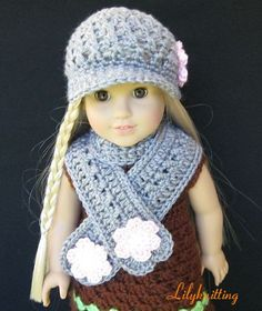 Pattern in PDF -- crocheted doll Scarf for American Girl, Gotz, Blythe or similar 15 inches to 18 inches dolls ( Doll Scarf 1). $5.99, via Etsy.  I'm not sure I LOVE the scarf, but the hat is adorbs!  @Bethany Fackler