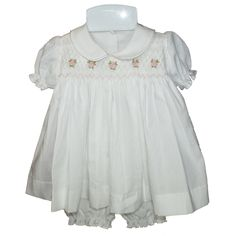 Marie (White) - Hand-smocked top with hand embroidery (soft cotton lining to inside of smocking), Button fastening at back. Available in sizes and months. Smocking, Hand Embroidery, Tulle, Flower Girl Dresses, Ruffle Blouse, Rompers, Wedding Dresses, Skirts, Cotton