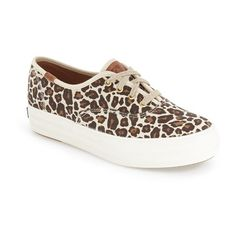 Keds 'Triple Leopard' Platform Sneaker ($60) ❤ liked on Polyvore featuring shoes, sneakers, natural, leopard shoes, polka dot sneakers, canvas lace up sneakers, platform canvas sneakers and lacing sneakers