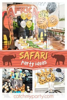 Take a trip to Africa with this amazing safari birthday party! The table set. Take a trip to A Third Birthday Boys, 3 Year Old Birthday Party, Safari Birthday Party, Animal Birthday, Boy Birthday Parties, Jungle Party, Jungle Theme, Jungle Safari, Theme Parties
