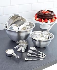 Measure out ingredients and mix them together with this 12-pc. stainless steel set. Measuring spoons and measuring cups come in a variety of standard sizes, and