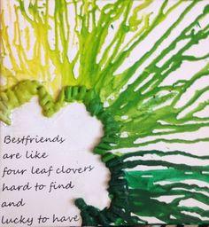 Four leaf clover crayon melting project