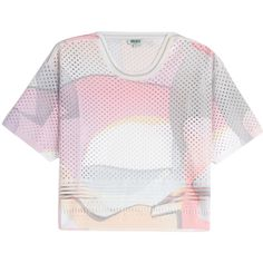 Kenzo Paper Perforated Top (£99) ❤ liked on Polyvore featuring tops, shirts, crop top, t-shirts, multicolor, boxy top, slim fit short sleeve shirts, metallic shirt, short sleeve tops и colorful crop tops