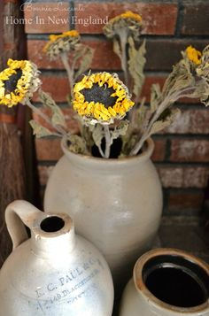Dried sunflowers.  - More Great Ideas from CuriousCountryCreations.com