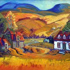 Une ferme à la montagne de Charlevoix par Normand Boisvert 30 x 40 / Huile sur toile #Quebec #Toile #Peinture #Painting #Art #Artist #paysage #landscape #charlevoix Charlevoix, Expositions, Land Scape, Les Oeuvres, Paintings, Oil On Canvas, Normandie, Farm Gate, Mountain