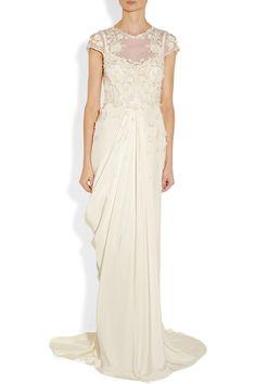 Temperley London Laelia floral-appliquéd silk crepe de chine gown NET-A-PORTER.COM