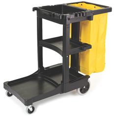 The Housekeeping and janitorial cleaning cart 617388 from Rubbermaid is provided with the a zippered yellow vinyl bag. Cleaning Cart, Cleaning Equipment, Cleaning Supplies, Cleaning Vinegar, Cleaning Services, Trash Removal, Laundry Cart, Laundry Room, Yellow