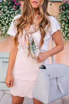 Gal Meets Glam The Perfect Bag - Current Elliott tee, Gucci scarf, Club Monaco skirt, SENREVE handbag c/o & Chanel loafers