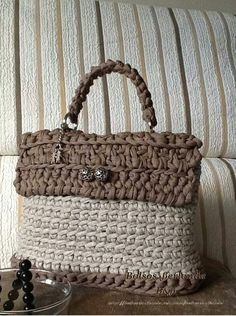 beige & taupe crocheted bag/purse